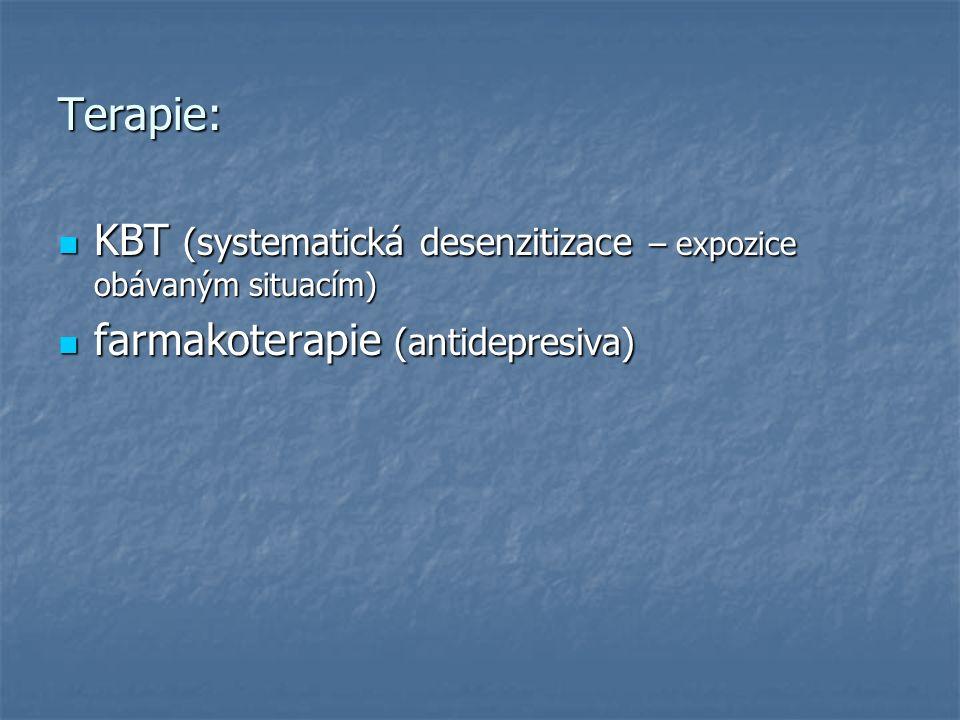 Terapie: KBT (systematická desenzitizace – expozice obávaným situacím) KBT (systematická desenzitizace – expozice obávaným situacím) farmakoterapie (antidepresiva) farmakoterapie (antidepresiva)