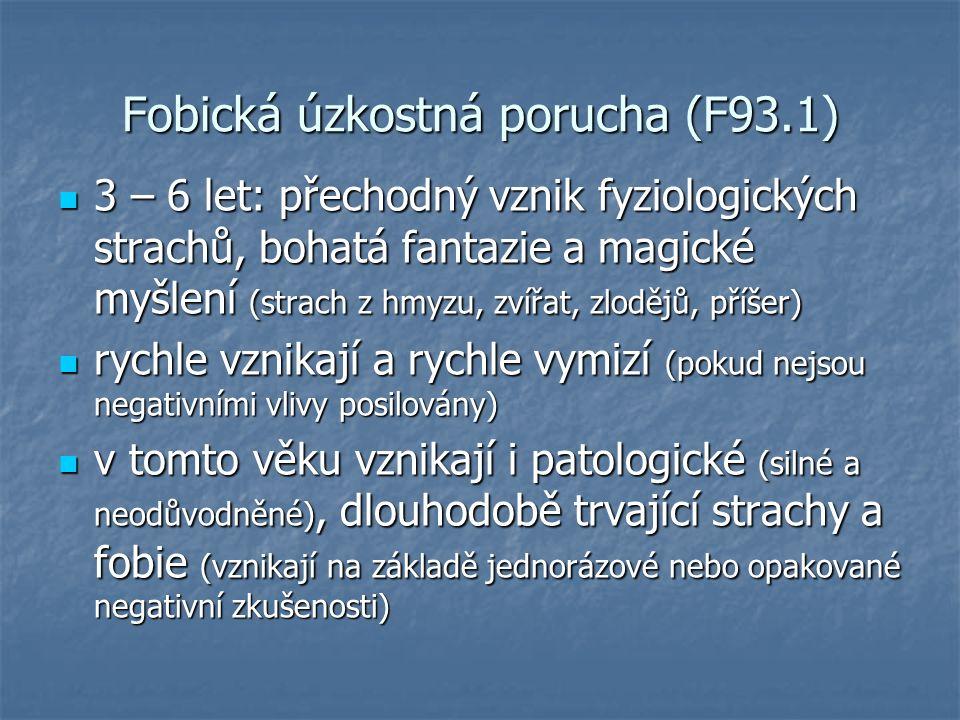 Fobická úzkostná porucha (F93.1) 3 – 6 let: přechodný vznik fyziologických strachů, bohatá fantazie a magické myšlení (strach z hmyzu, zvířat, zlodějů, příšer) 3 – 6 let: přechodný vznik fyziologických strachů, bohatá fantazie a magické myšlení (strach z hmyzu, zvířat, zlodějů, příšer) rychle vznikají a rychle vymizí (pokud nejsou negativními vlivy posilovány) rychle vznikají a rychle vymizí (pokud nejsou negativními vlivy posilovány) v tomto věku vznikají i patologické (silné a neodůvodněné), dlouhodobě trvající strachy a fobie (vznikají na základě jednorázové nebo opakované negativní zkušenosti) v tomto věku vznikají i patologické (silné a neodůvodněné), dlouhodobě trvající strachy a fobie (vznikají na základě jednorázové nebo opakované negativní zkušenosti)