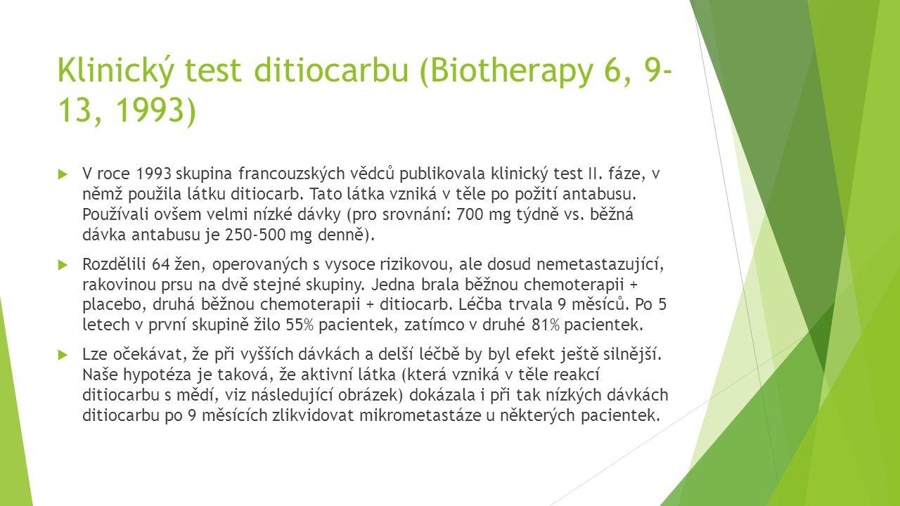 Klinický test ditiocarbu (Biotherapy 6, 9- 13, 1993)  V roce 1993 skupina francouzských vědců publikovala klinický test II. fáze, v němž použila látk