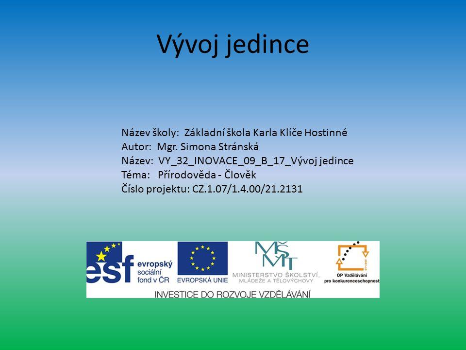 Vývoj jedince Název školy: Základní škola Karla Klíče Hostinné Autor: Mgr.