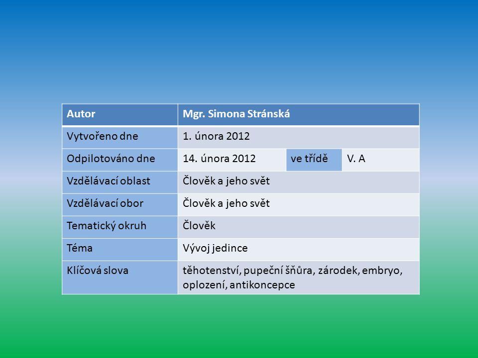 AutorMgr. Simona Stránská Vytvořeno dne1. února 2012 Odpilotováno dne14.