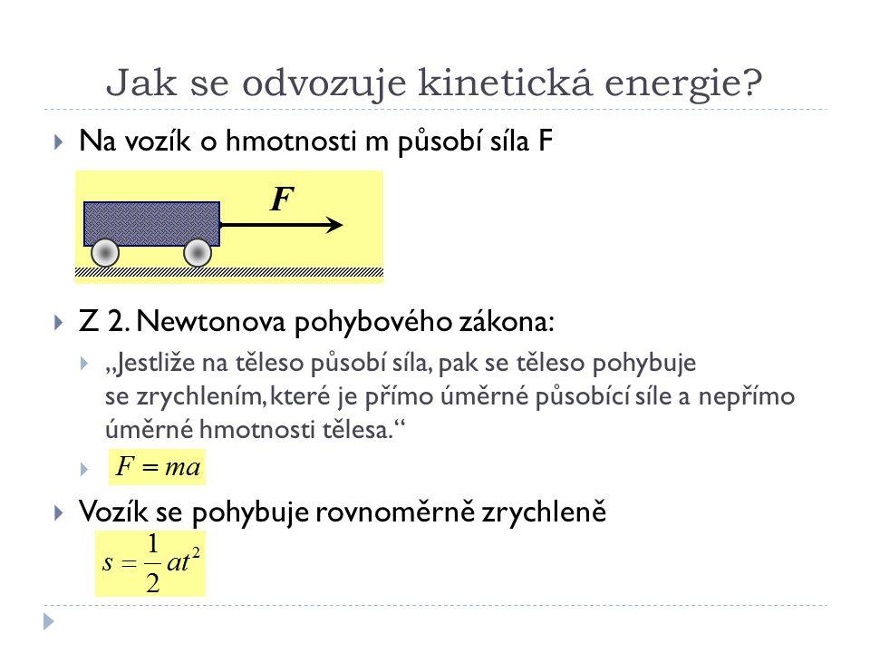 Jak se odvozuje kinetická energie.  Na vozík o hmotnosti m působí síla F  Z 2.