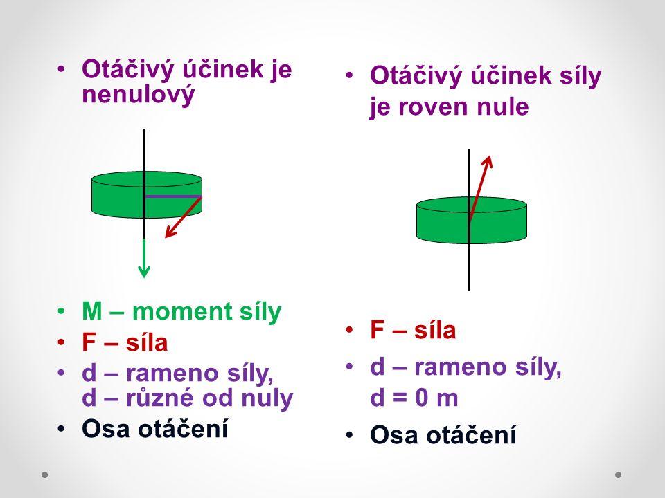 Otáčivý účinek je nenulový M – moment síly F – síla d – rameno síly, d – různé od nuly Osa otáčení Otáčivý účinek síly je roven nule F – síla d – rameno síly, d = 0 m Osa otáčení