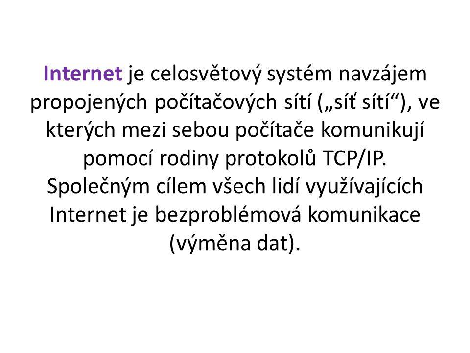 """Internet je celosvětový systém navzájem propojených počítačových sítí (""""síť sítí ), ve kterých mezi sebou počítače komunikují pomocí rodiny protokolů TCP/IP."""