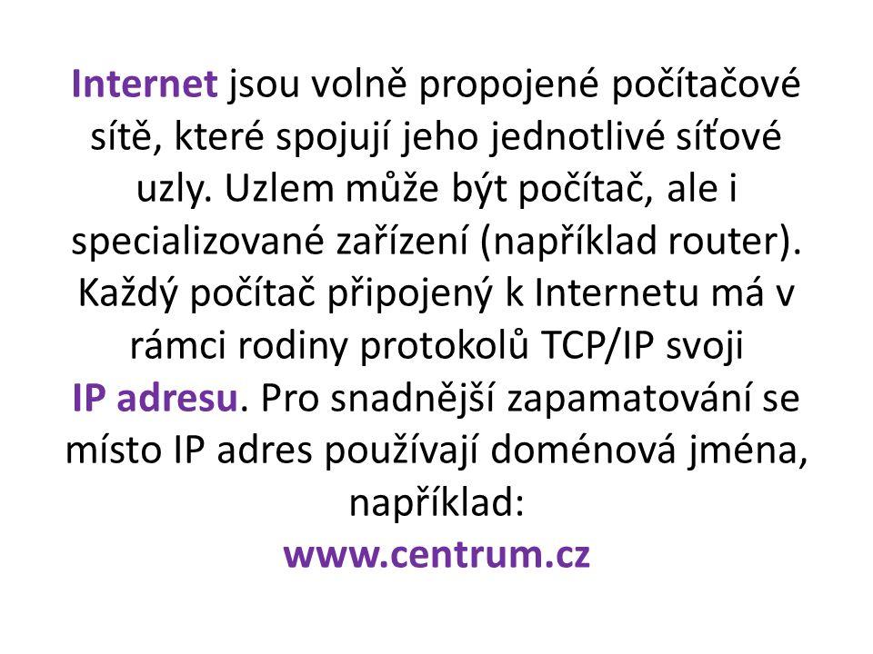 Internet jsou volně propojené počítačové sítě, které spojují jeho jednotlivé síťové uzly.