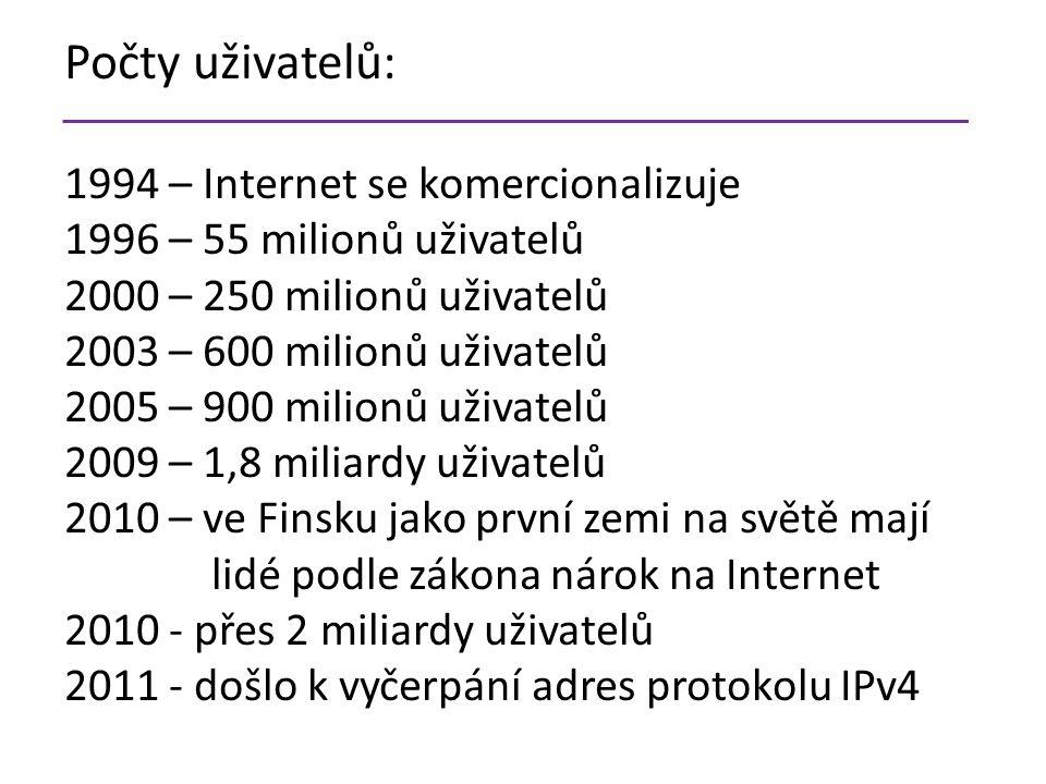 Počty uživatelů: 1994 – Internet se komercionalizuje 1996 – 55 milionů uživatelů 2000 – 250 milionů uživatelů 2003 – 600 milionů uživatelů 2005 – 900 milionů uživatelů 2009 – 1,8 miliardy uživatelů 2010 – ve Finsku jako první zemi na světě mají lidé podle zákona nárok na Internet 2010 - přes 2 miliardy uživatelů 2011 - došlo k vyčerpání adres protokolu IPv4