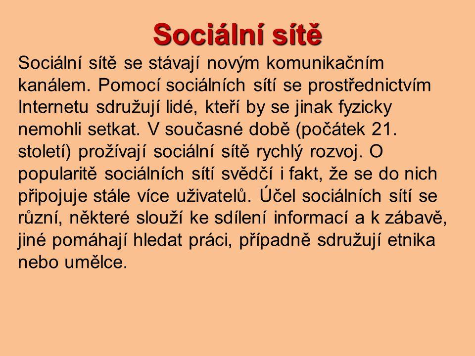 Sociální sítě Sociální sítě se stávají novým komunikačním kanálem.