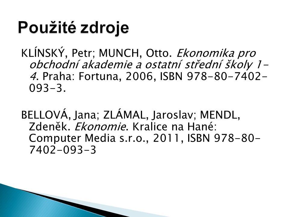KLÍNSKÝ, Petr; MUNCH, Otto. Ekonomika pro obchodní akademie a ostatní střední školy 1- 4.