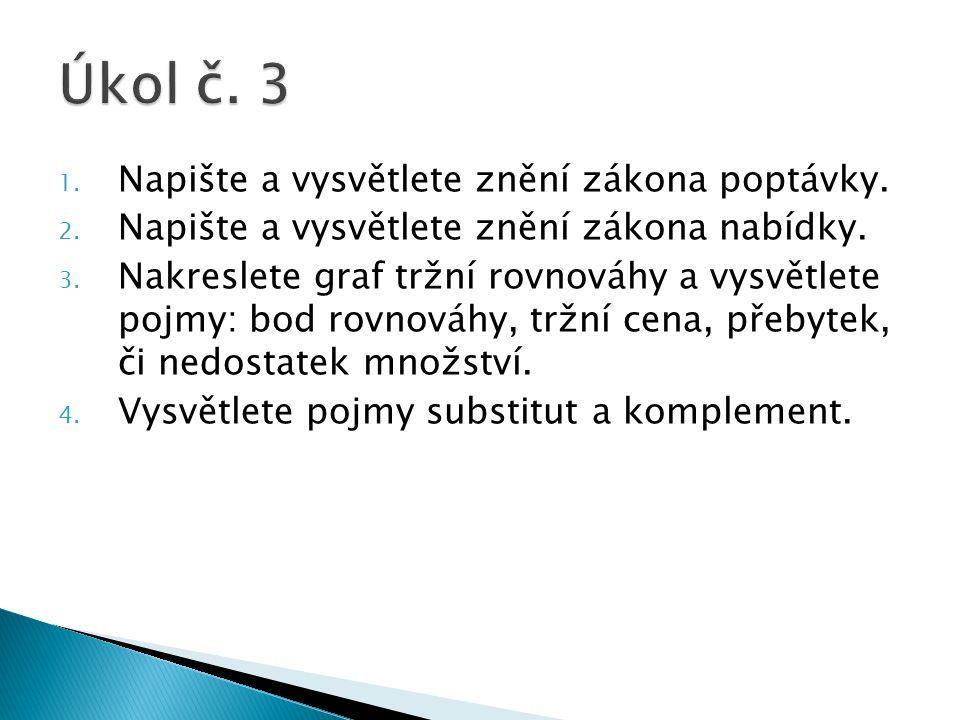 1. Napište a vysvětlete znění zákona poptávky. 2.