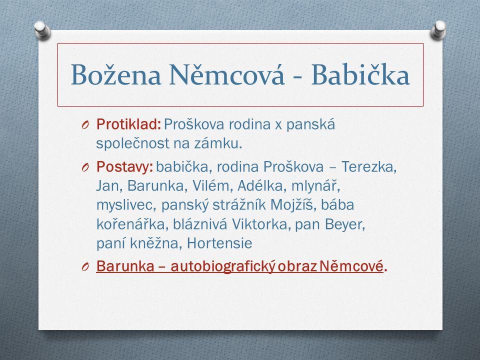Božena Němcová - Babička O Protiklad: Proškova rodina x panská společnost na zámku.
