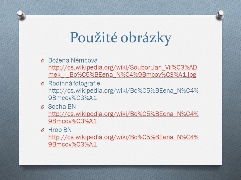 Použité obrázky O Božena Němcová http://cs.wikipedia.org/wiki/Soubor:Jan_Vil%C3%AD mek_-_Bo%C5%BEena_N%C4%9Bmcov%C3%A1.jpg http://cs.wikipedia.org/wiki/Soubor:Jan_Vil%C3%AD mek_-_Bo%C5%BEena_N%C4%9Bmcov%C3%A1.jpg O Rodinná fotografie http://cs.wikipedia.org/wiki/Bo%C5%BEena_N%C4% 9Bmcov%C3%A1 O Socha BN http://cs.wikipedia.org/wiki/Bo%C5%BEena_N%C4% 9Bmcov%C3%A1 http://cs.wikipedia.org/wiki/Bo%C5%BEena_N%C4% 9Bmcov%C3%A1 O Hrob BN http://cs.wikipedia.org/wiki/Bo%C5%BEena_N%C4% 9Bmcov%C3%A1 http://cs.wikipedia.org/wiki/Bo%C5%BEena_N%C4% 9Bmcov%C3%A1