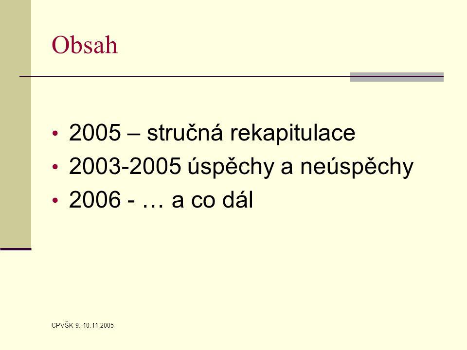 CPVŠK 9.-10.11.2005 Obsah 2005 – stručná rekapitulace 2003-2005 úspěchy a neúspěchy 2006 - … a co dál