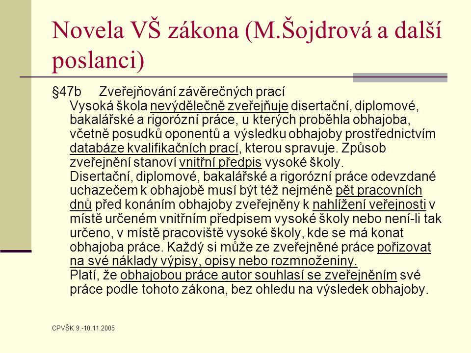 CPVŠK 9.-10.11.2005 Novela VŠ zákona (M.Šojdrová a další poslanci) §47b Zveřejňování závěrečných prací Vysoká škola nevýdělečně zveřejňuje disertační,