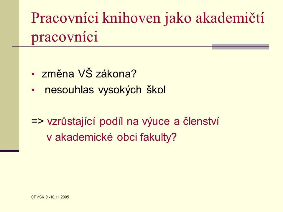 CPVŠK 9.-10.11.2005 Pracovníci knihoven jako akademičtí pracovníci změna VŠ zákona.