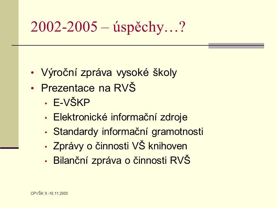 CPVŠK 9.-10.11.2005 2002-2005 – úspěchy…? Výroční zpráva vysoké školy Prezentace na RVŠ E-VŠKP Elektronické informační zdroje Standardy informační gra