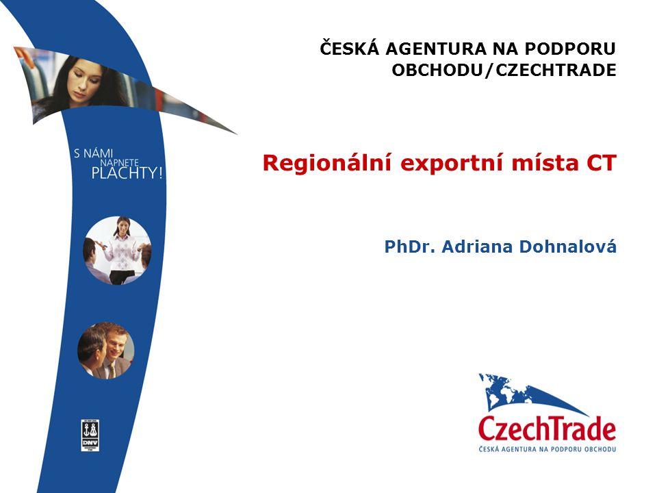 ČESKÁ AGENTURA NA PODPORU OBCHODU/CZECHTRADE Regionální exportní místa CT PhDr. Adriana Dohnalová