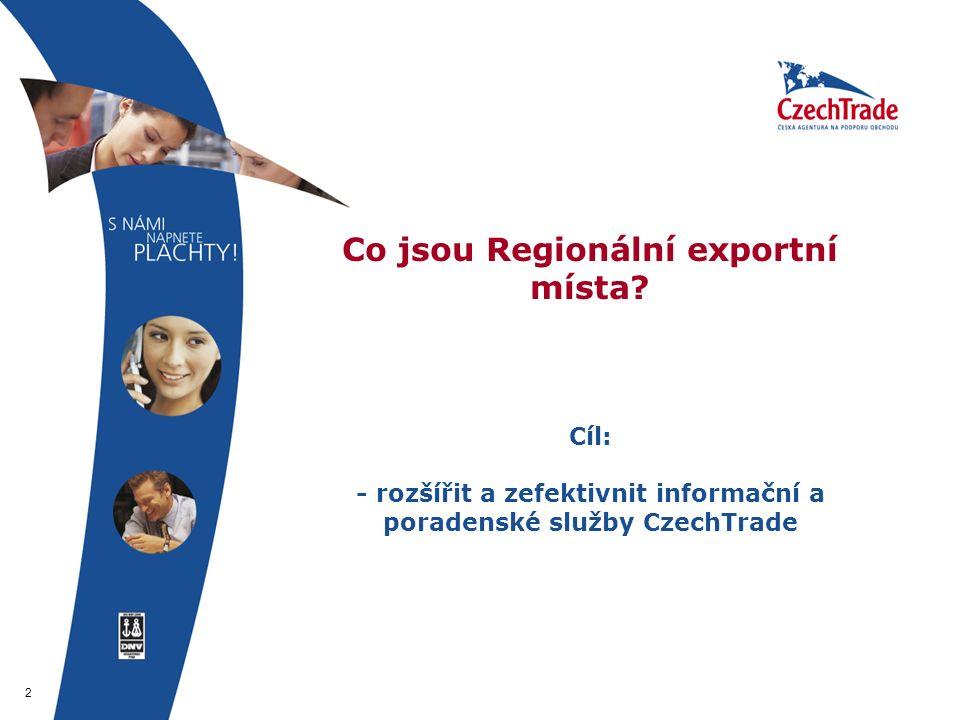 2 Co jsou Regionální exportní místa? Cíl: - rozšířit a zefektivnit informační a poradenské služby CzechTrade