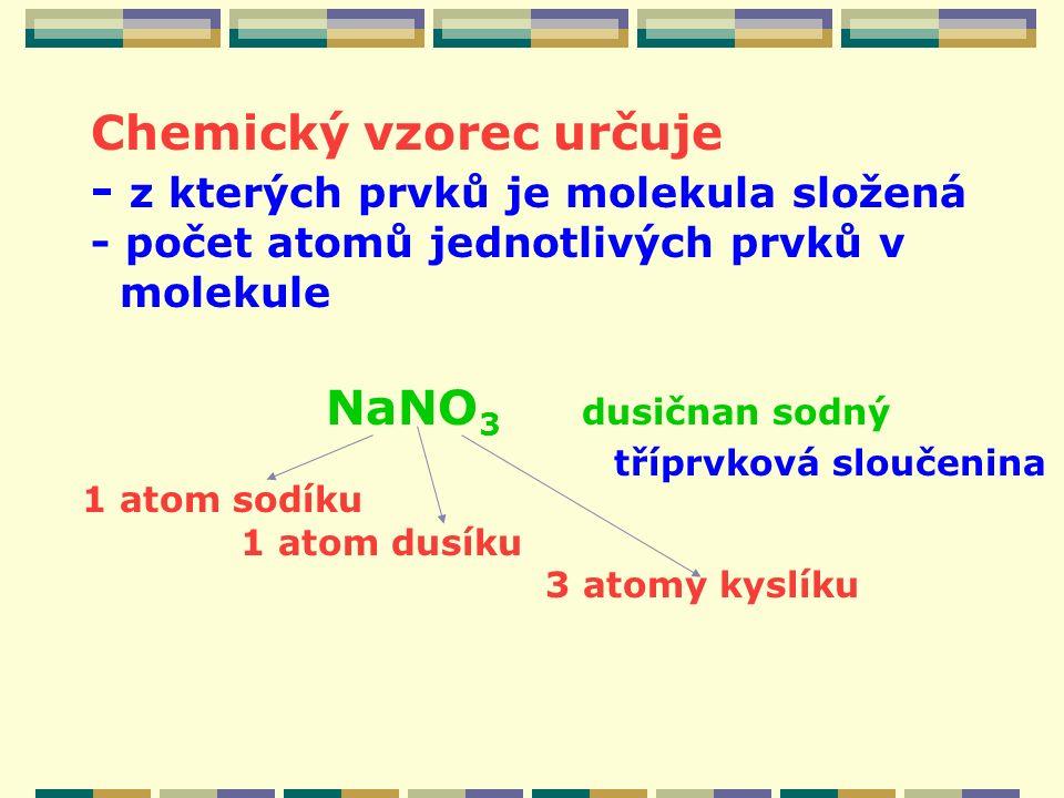 Chemický vzorec určuje - z kterých prvků je molekula složená - počet atomů jednotlivých prvků v molekule NaNO 3 dusičnan sodný 1 atom sodíku 1 atom dusíku 3 atomy kyslíku tříprvková sloučenina