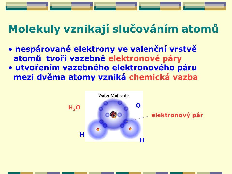 Molekuly vznikají slučováním atomů nespárované elektrony ve valenční vrstvě atomů tvoří vazebné elektronové páry utvořením vazebného elektronového pár