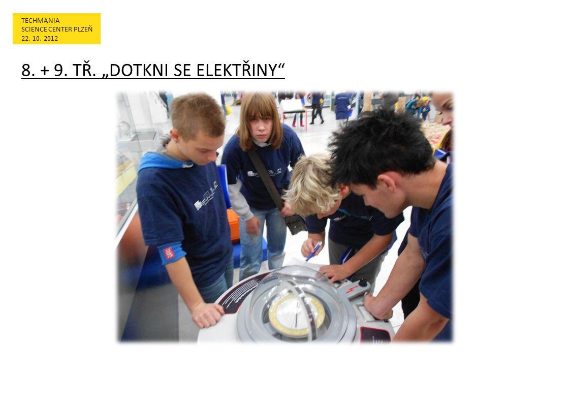 """TECHMANIA SCIENCE CENTER PLZEŇ 22. 10. 2012 8. + 9. TŘ. """"DOTKNI SE ELEKTŘINY"""