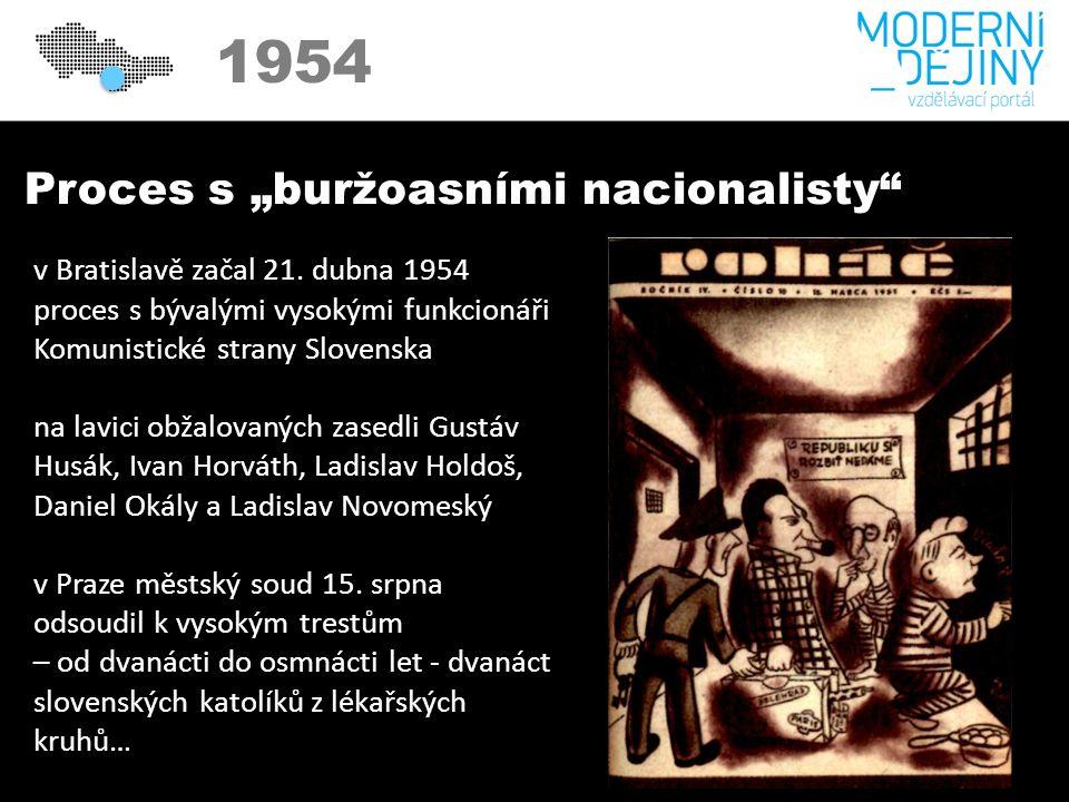 """1950 1954 Proces s """"buržoasními nacionalisty v Bratislavě začal 21."""