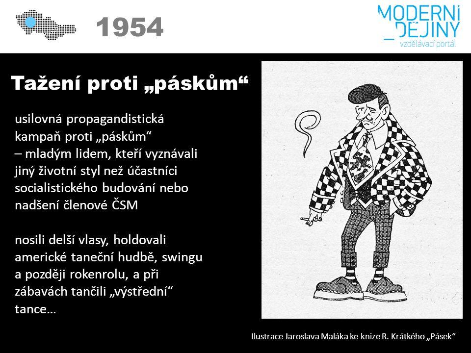 """1950 1954 Tažení proti """"páskům usilovná propagandistická kampaň proti """"páskům – mladým lidem, kteří vyznávali jiný životní styl než účastníci socialistického budování nebo nadšení členové ČSM nosili delší vlasy, holdovali americké taneční hudbě, swingu a později rokenrolu, a při zábavách tančili """"výstřední tance… Ilustrace Jaroslava Maláka ke knize R."""