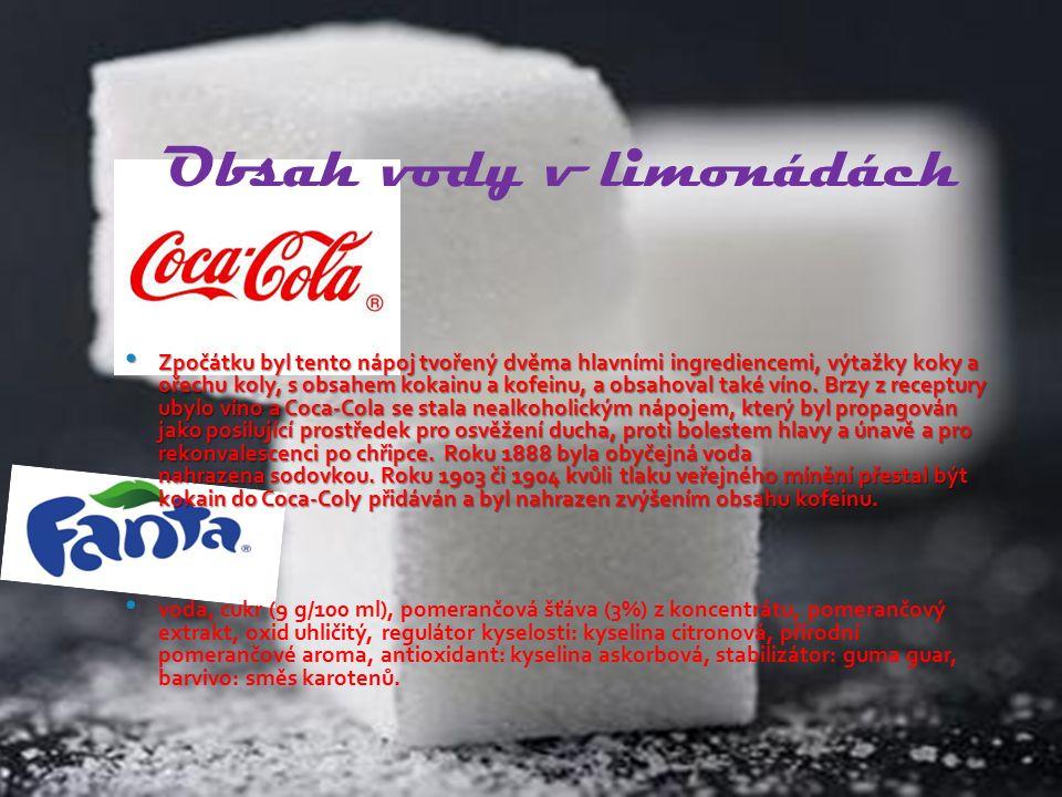 Obsah vody v limonádách Zpočátku byl tento nápoj tvořený dvěma hlavními ingrediencemi, výtažky koky a ořechu koly, s obsahem kokainu a kofeinu, a obsa