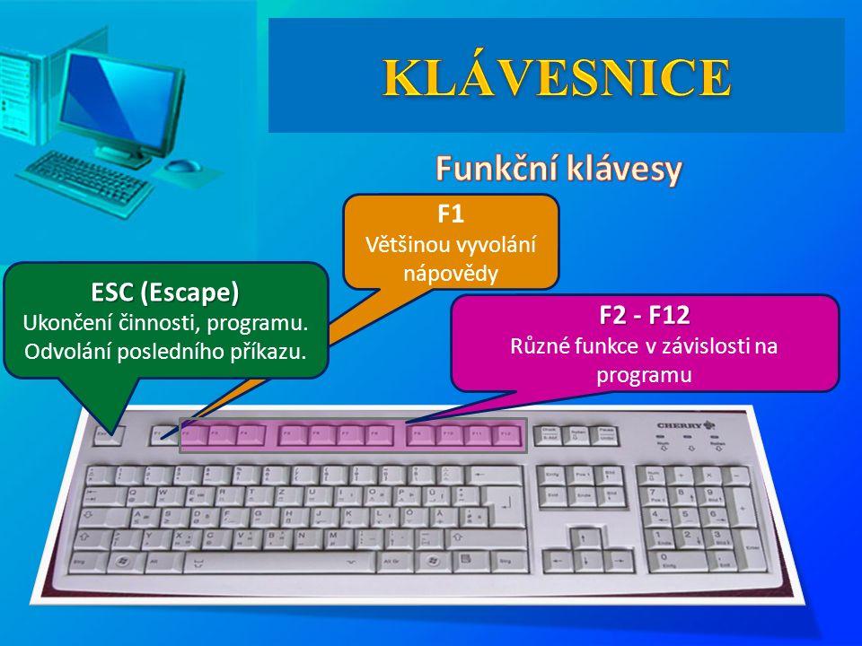 F1 Většinou vyvolání nápovědy ESC (Escape) ESC (Escape) Ukončení činnosti, programu. Odvolání posledního příkazu. F2 - F12 F2 - F12 Různé funkce v záv