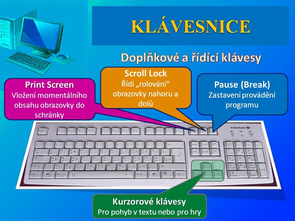 Kurzorové klávesy Kurzorové klávesy Pro pohyb v textu nebo pro hry Print Screen Print Screen Vložení momentálního obsahu obrazovky do schránky Pause (