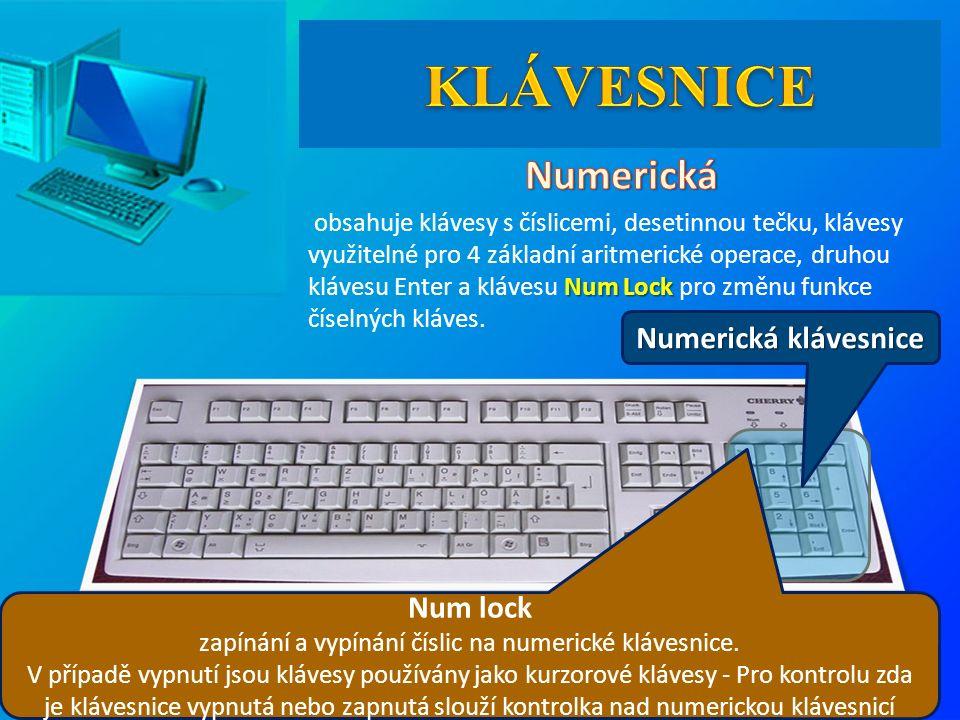 Numerická klávesnice Num Lock obsahuje klávesy s číslicemi, desetinnou tečku, klávesy využitelné pro 4 základní aritmerické operace, druhou klávesu Enter a klávesu Num Lock pro změnu funkce číselných kláves.