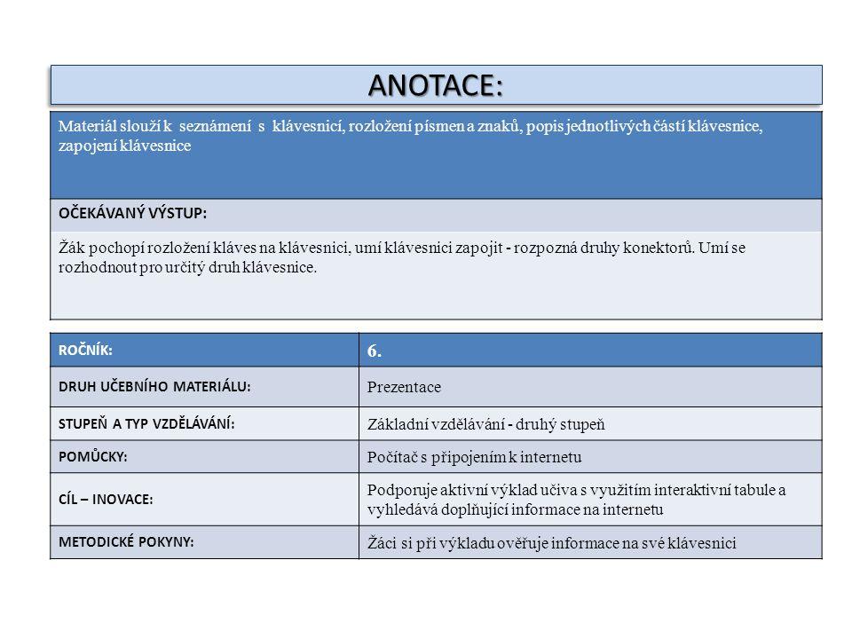 ANOTACE:ANOTACE: ROČNÍK: 6. DRUH UČEBNÍHO MATERIÁLU: Prezentace STUPEŇ A TYP VZDĚLÁVÁNÍ: Základní vzdělávání - druhý stupeň POMŮCKY: Počítač s připoje