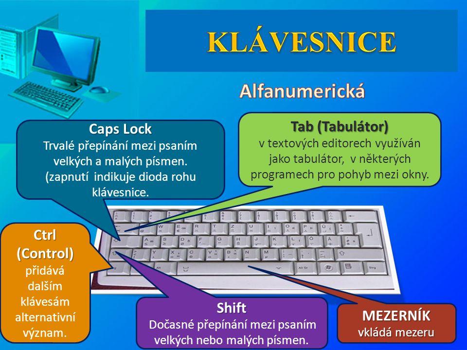 MEZERNÍK vkládá mezeru Tab (Tabulátor) Tab (Tabulátor) v textových editorech využíván jako tabulátor, v některých programech pro pohyb mezi okny. Caps