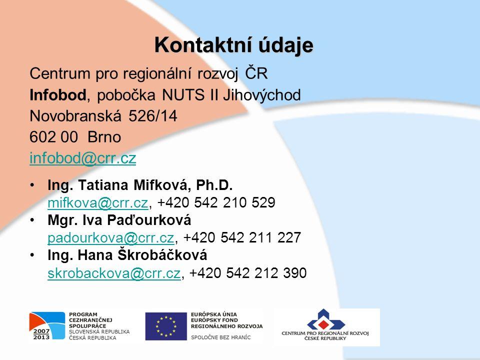 Kontaktní údaje Centrum pro regionální rozvoj ČR Infobod, pobočka NUTS II Jihovýchod Novobranská 526/14 602 00 Brno infobod@crr.cz Ing.