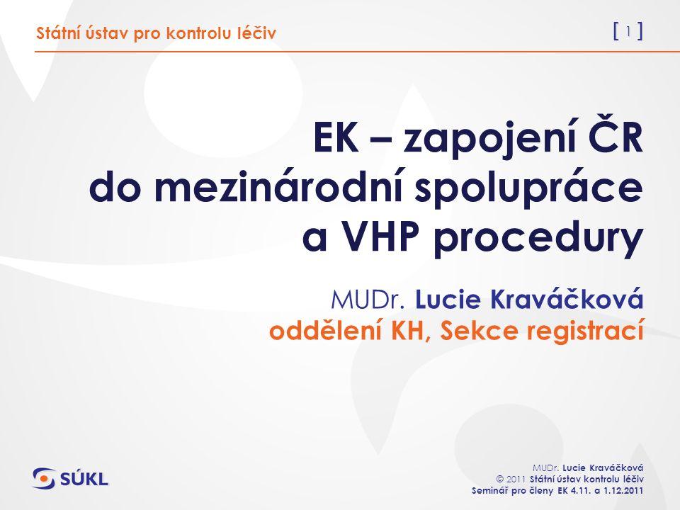 [ 2 ] MUDr.Lucie Kraváčková © 2011 Státní ústav kontrolu léčiv Seminář pro členy EK 4.11.