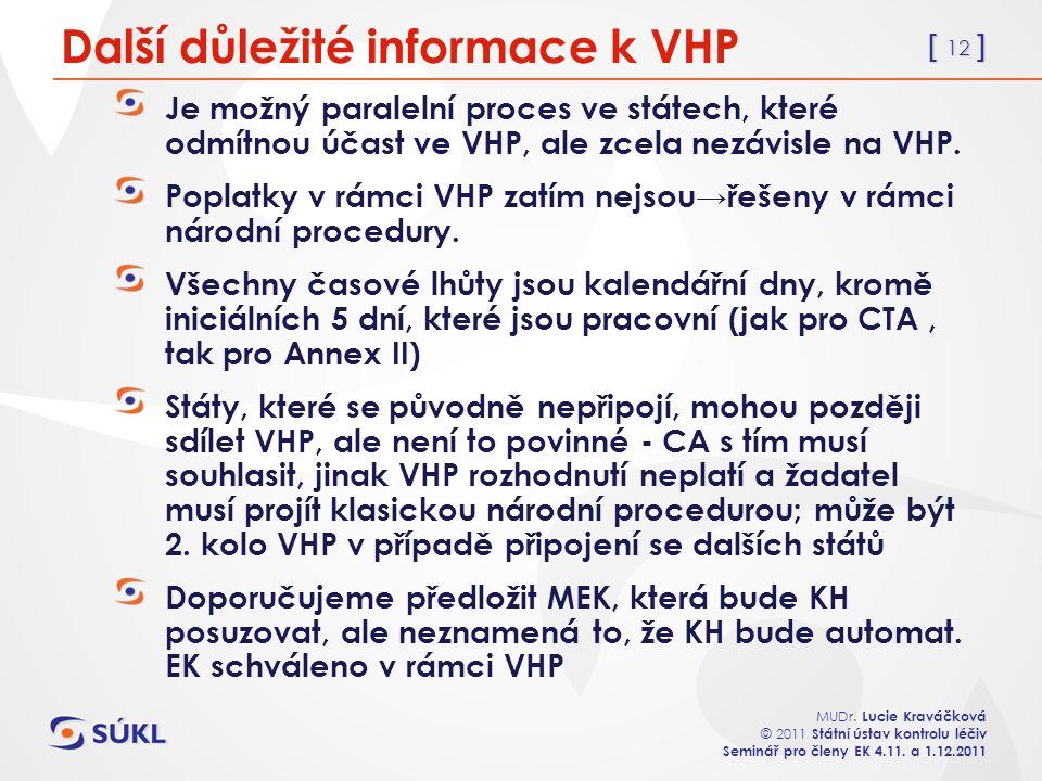 [ 12 ] MUDr. Lucie Kraváčková © 2011 Státní ústav kontrolu léčiv Seminář pro členy EK 4.11. a 1.12.2011 Další důležité informace k VHP Je možný parale