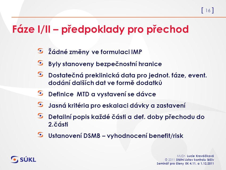 [ 16 ] MUDr. Lucie Kraváčková © 2011 Státní ústav kontrolu léčiv Seminář pro členy EK 4.11. a 1.12.2011 Fáze I/II – předpoklady pro přechod Žádné změn
