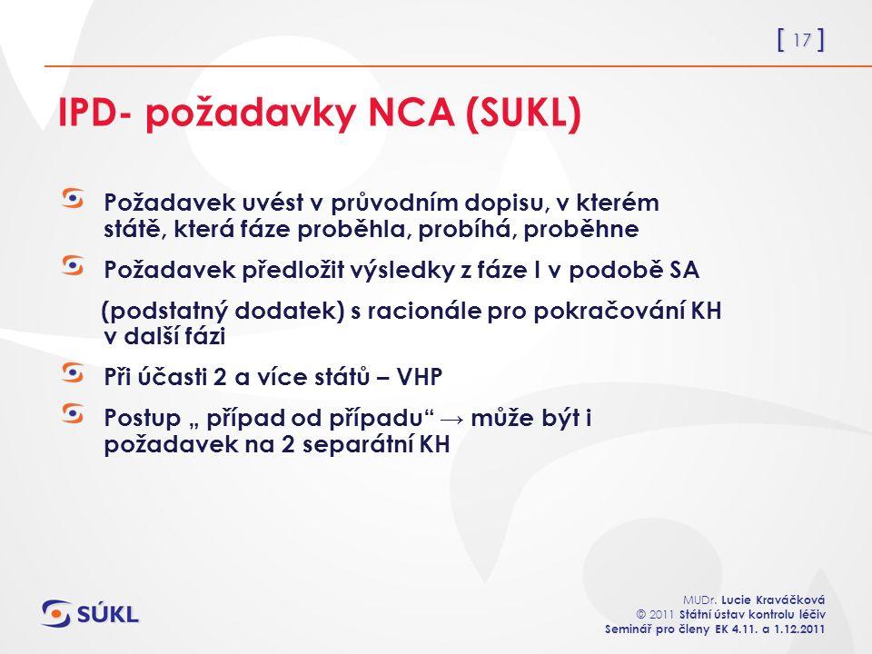 [ 17 ] MUDr. Lucie Kraváčková © 2011 Státní ústav kontrolu léčiv Seminář pro členy EK 4.11. a 1.12.2011 IPD- požadavky NCA (SUKL) Požadavek uvést v pr