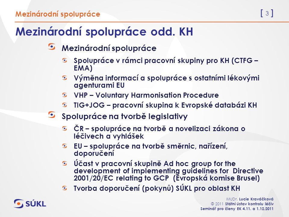 [ 4 ] MUDr.Lucie Kraváčková © 2011 Státní ústav kontrolu léčiv Seminář pro členy EK 4.11.