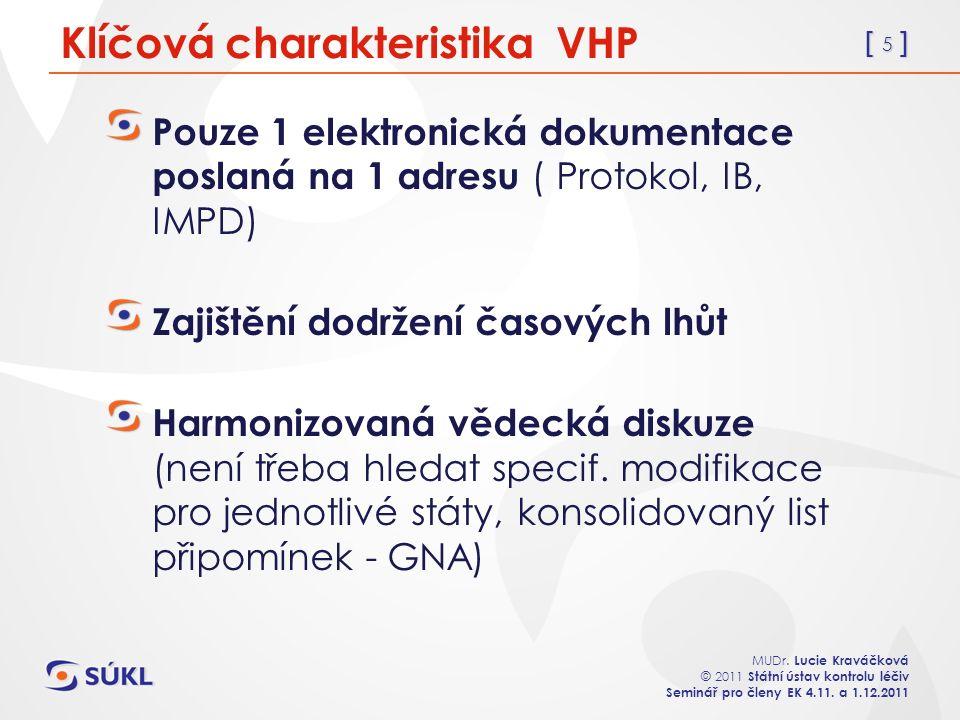 [ 5 ] MUDr. Lucie Kraváčková © 2011 Státní ústav kontrolu léčiv Seminář pro členy EK 4.11. a 1.12.2011 Klíčová charakteristika VHP Pouze 1 elektronick