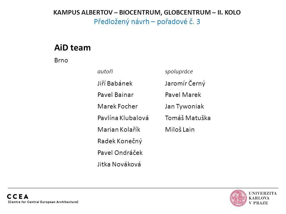 KAMPUS ALBERTOV – BIOCENTRUM, GLOBCENTRUM – II.KOLO Předložený návrh – pořadové č.