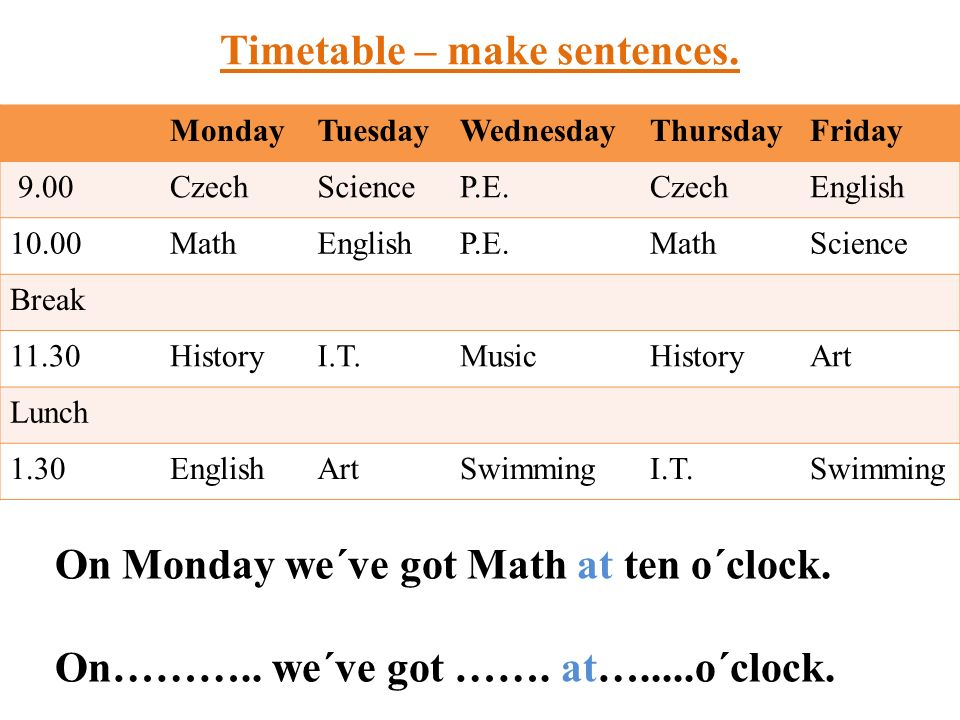 Timetable – make sentences.