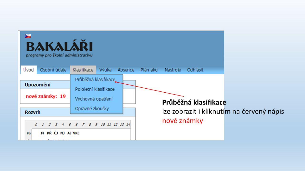 Průběžná klasifikace lze zobrazit i kliknutím na červený nápis nové známky