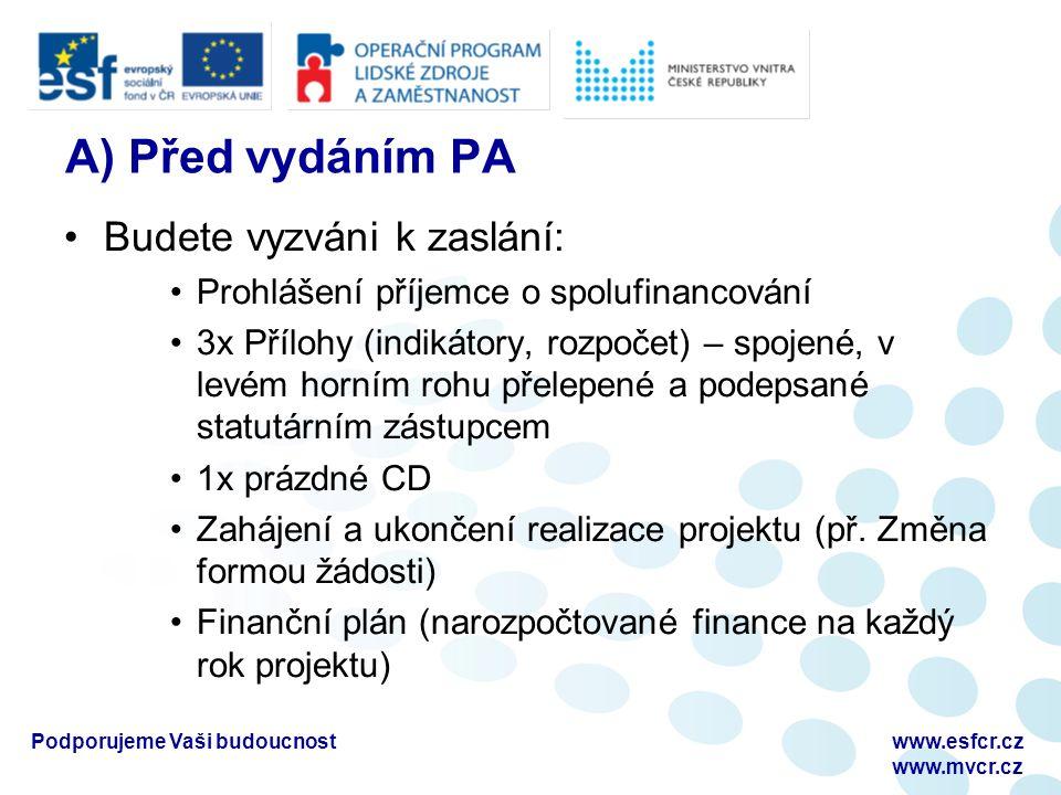 A) Před vydáním PA Budete vyzváni k zaslání: Prohlášení příjemce o spolufinancování 3x Přílohy (indikátory, rozpočet) – spojené, v levém horním rohu přelepené a podepsané statutárním zástupcem 1x prázdné CD Zahájení a ukončení realizace projektu (př.