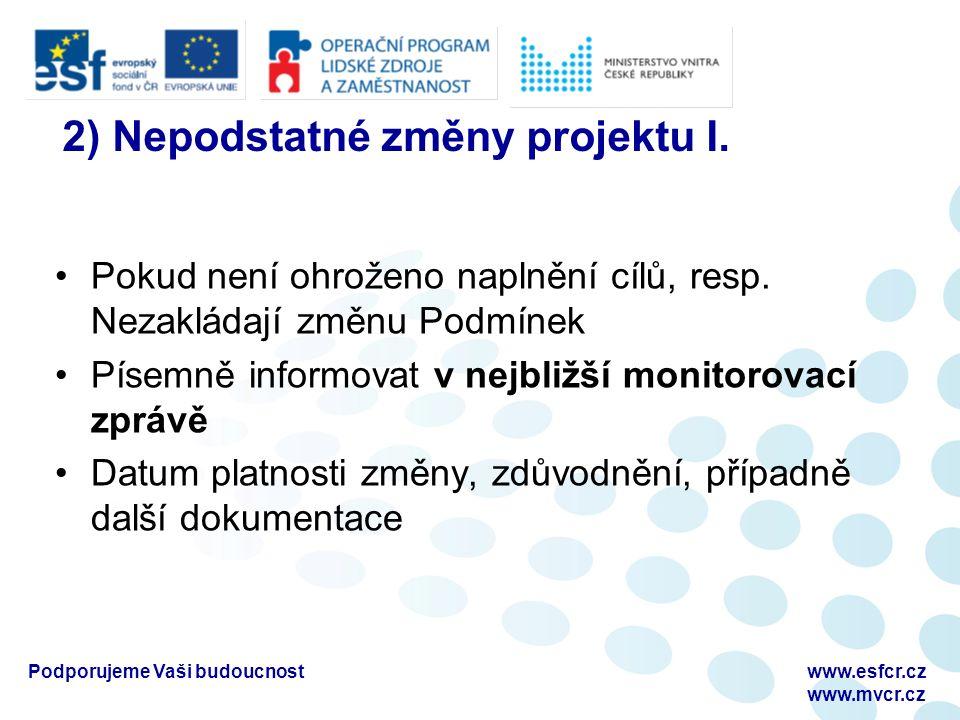 2) Nepodstatné změny projektu I. Pokud není ohroženo naplnění cílů, resp.