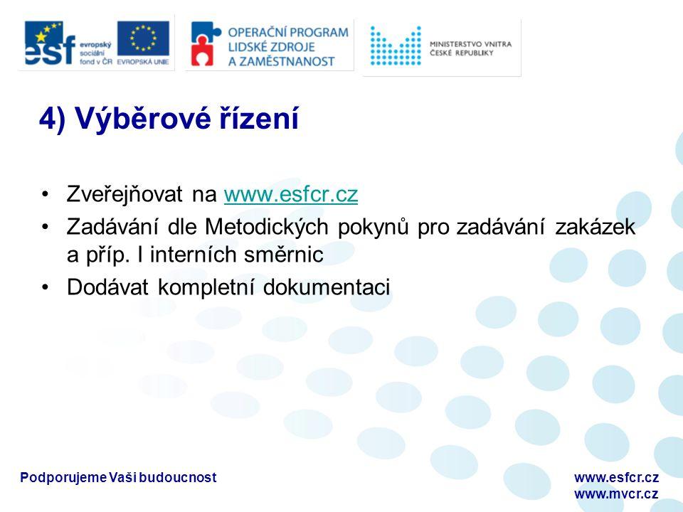 4) Výběrové řízení Zveřejňovat na www.esfcr.czwww.esfcr.cz Zadávání dle Metodických pokynů pro zadávání zakázek a příp.