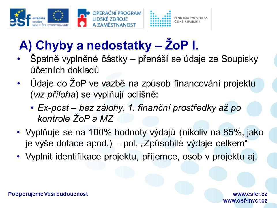 Podporujeme Vaši budoucnostwww.esfcr.cz www.osf-mvcr.cz A) Chyby a nedostatky – ŽoP I.