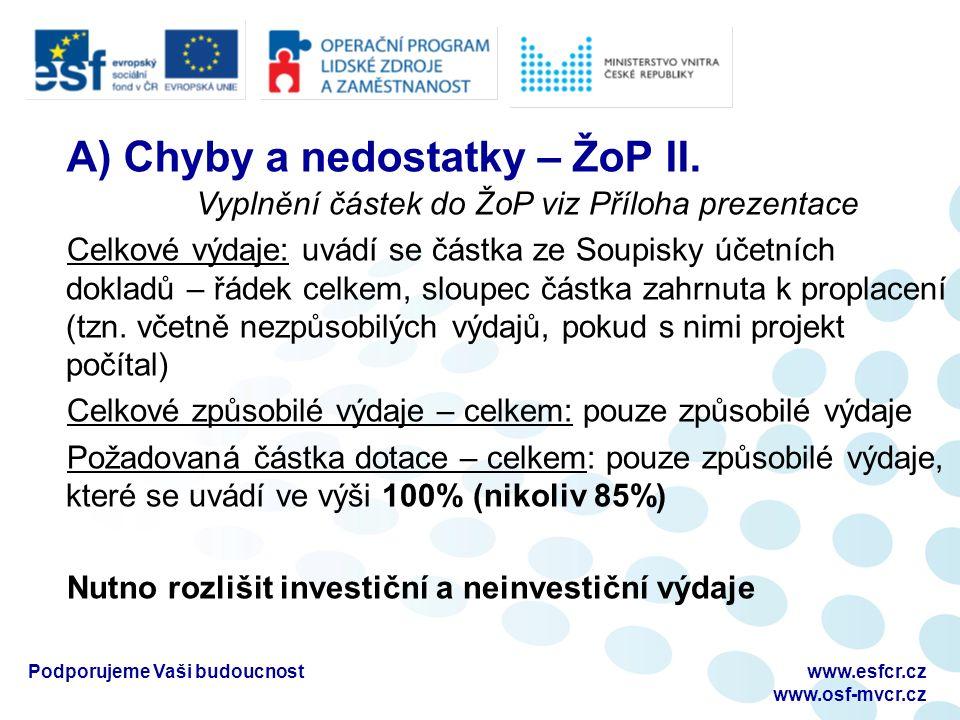Podporujeme Vaši budoucnostwww.esfcr.cz www.osf-mvcr.cz A) Chyby a nedostatky – ŽoP II.