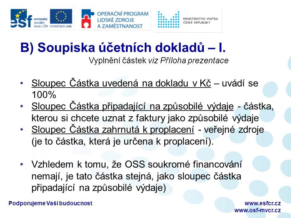 Podporujeme Vaši budoucnostwww.esfcr.cz www.osf-mvcr.cz B) Soupiska účetních dokladů – I.