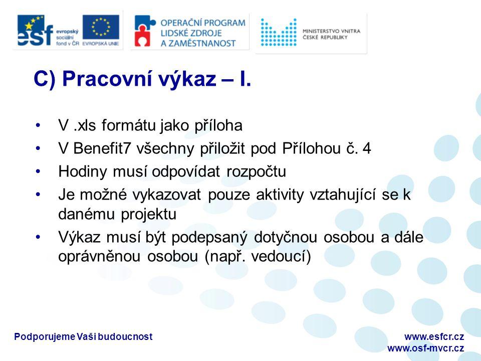 Podporujeme Vaši budoucnostwww.esfcr.cz www.osf-mvcr.cz C) Pracovní výkaz – I.
