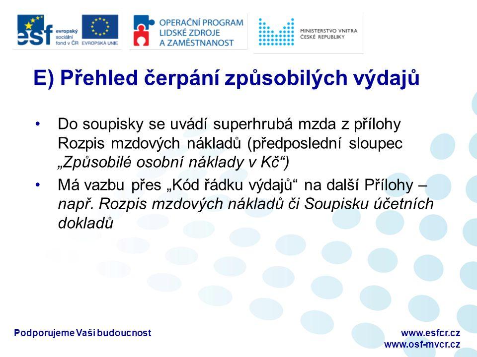 """Podporujeme Vaši budoucnostwww.esfcr.cz www.osf-mvcr.cz E) Přehled čerpání způsobilých výdajů Do soupisky se uvádí superhrubá mzda z přílohy Rozpis mzdových nákladů (předposlední sloupec """"Způsobilé osobní náklady v Kč ) Má vazbu přes """"Kód řádku výdajů na další Přílohy – např."""